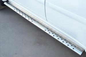 Mitsubishi Pajero Sport 2013 Пороги труба 75х42 овал с проступью MPSO-001580